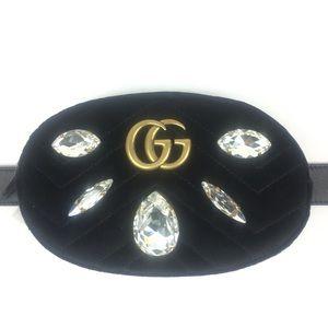 Gucci #476434 GG Marmont Velvet Belt/Crossbody